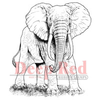 "Deep Red Cling Stamps -  African Elephant 2.75""X3"""