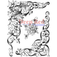 """Deep Red Cling Stamps - Wrought Iron Corners 3"""" x 4"""""""