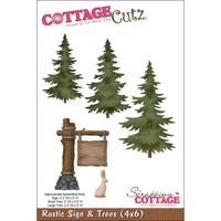 CottageCutz Die - Rustic Sign & Trees