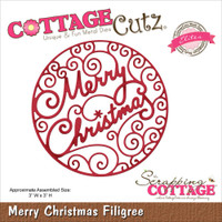 CottageCutz Die - Merry Christmas Filigree