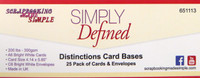 Simply Defined Distinctions Card Bases - A6 Bright 25 White Cards & Envelopes