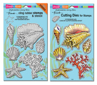 Stampendous Cling Stamps and  Dies Bundle - Seashells