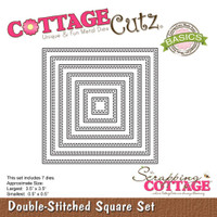 CottageCutz Basics Dies 7/Pkg - Double Stitch Square