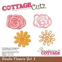 CottageCutz Die - Doodle Flowers Set 3