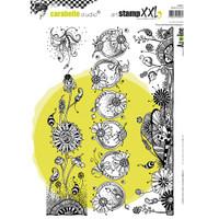 Carabelle Studio Cling Stamp XXL A4 - Wonderful Flower Strips
