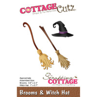 CottageCutz Die - Brooms & Witch Hat