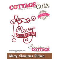 CottageCutz Elites Die - Merry Christmas Ribbon