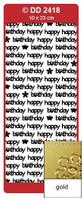 Doodey Peel Off Stickers -  Happy Birthday (Modern)  (Gold)