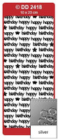 Doodey Peel Off Stickers -  Happy Birthday (Modern)  (Silver)