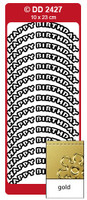 Doodey Peel Off Stickers -  Happy Birthday  (Curve)  (Gold)