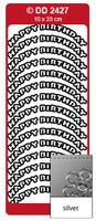 Doodey Peel Off Stickers -  Happy Birthday  (Curve)  (Silver)