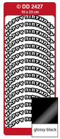 Doodey Peel Off Stickers -  Happy Birthday  (Curve)  (Glossy Black)