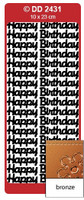 Doodey Peel Off Stickers -  Happy Birthday (Large)  (Bronze)