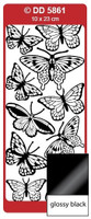 Doodey Peel Off Stickers -  Butterflies (Large) (Glossy Black)