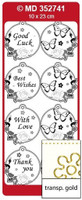 Doodey Mini Card Stickers - Circle Tags With Butterflies (Transparent Gold)