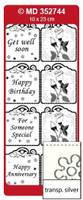 Doodey Mini Card Stickers - Square Tags With Roses (Transparent Silver)