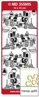 Doodey Peel Off Stickers - Oldtimer Steam Locomotive 1 (Transparent Gold)