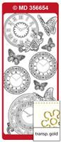 Doodey Peel Off Stickers - Clocks, Double Embossed (Transparent Gold)