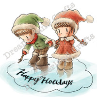Dreamerland Crafts Cling Stamp - Happy Holidays