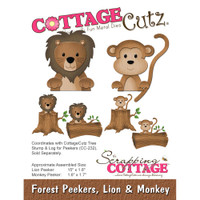 CottageCutz Die - Forest Peekers: Lion & Monkey