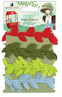 doCrafts Kori Kumi by Santoro  Ribbons 1m 4/Pkg - Leaf