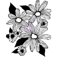 Prima Cling Rubber Stamps by Christine Adolph - Daisy Trio