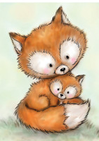 Wild Rose Studio - Mummy Fox and Baby