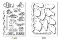 Memory Box Open Studio Stamps & Die Set - Fish Tales