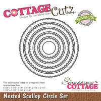 CottageCutz Nested Dies 5/Pkg - Scallop Circle