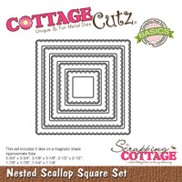 CottageCutz Nested Dies 5/Pkg - Scallop Square