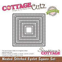 CottageCutz Nested Dies 5/Pkg - Stitched Eyelet Square