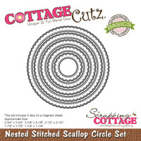 CottageCutz Nested Dies 5/Pkg - Stitched Scallop Circle