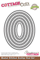 CottageCutz Nested Dies 5/Pkg - Stitched Scallop Oval