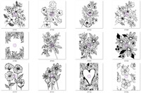 Prima Cling Rubber Stamps by Christine Adolf - Flowers 'I Want It All' 12 Stamps Bundle