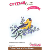 CottageCutz Stamp & Die Set - Yellow Finch With Cone Flowers