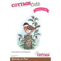 CottageCutz Stamp & Die Set - Sparrow On Post
