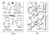 Memory Box Poppystamps Clear Stamps and Dies Set - Feline Spooky