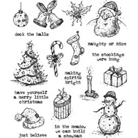Tim Holtz Cling Mount Stamps - Tattered Christmas