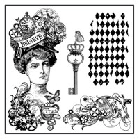 Stamperia High Definition Rubber Stamp -  Steampunk Woman