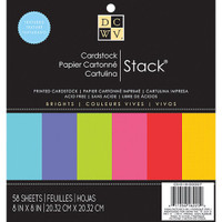 "DCWV Single-Sided Cardstock Stack 8""X8"" 58/Pkg - Brights Solid"