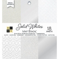 "DCWV Single-Sided Cardstock Stack 6""X6"" 18/Pkg - Solid Whites Glitter & Foil"