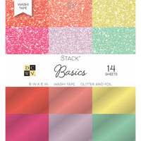 "DCWV Single-Sided Cardstock Stack 6""X6"" 14/Pkg, Glitter & Foil - Washi Basics"