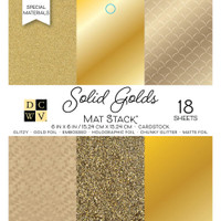 "DCWV Single-Sided Cardstock Stack 6""X6"" 18/Pkg - Solid Golds"