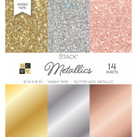 "DCWV Single-Sided Cardstock Stack 6""X6"" 14/Pkg - Washi Metallics Glitter & Foil"