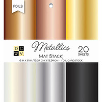 "DCWV Single-Sided Cardstock Stack 6""X6"" 20/Pkg - Metallics Foil"