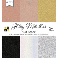 "DCWV Single-Sided Cardstock Stack 6""X6"" 24/Pkg - Glitzy Metallics With Glitter"