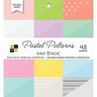 "DCWV Double-Sided Cardstock Stack 6""X6"" 48/Pkg - Pastel Patterns"