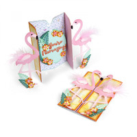 Sizzix Thinlits Dies Set By Jen Long - Card, Flamingo Fold-A-Long