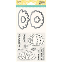 Hampton Art, Jillibean Soup Shaker Clear Stamps & Die Set - Succulents