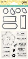 Hampton Art, Jillibean Soup Shaker Die and Stamp Set - Flower Bloom